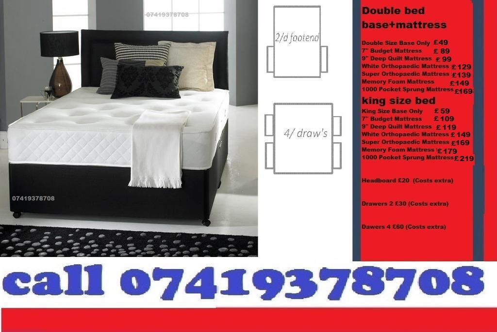 Brand New SINGLE DOUBLE SMALL KINGSIZE Double Base Dlvan Beddingin Ealing, LondonGumtree - IMPRESSIVE OFFER....EXTREME Quality Furniture like Divan and Leather Base available contact us