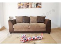 Large fabric 3 seater sofa brown/beige
