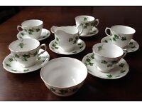 VINTAGE COLCLOUGH IVY LEAF TEA SET - BONE CHINA - 5 CUPS & 6 SAUCERS - MILK JUG & SUGAR BOWL