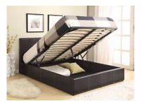 BUY ON LOW BUDGET DOUBLE LEATHER STORAGE OTTOMAN GAS LIFT BED FRAME- MATTRESS - SINGLE/KINGSIZE