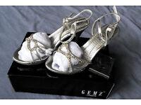 Brand New GEMZ London Women's Silver Diamond Heeled Shoes Size 6/39