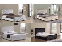 == SUPERIOR QUALITY == CHESTERFIELD SINGLE 3FT CRUSHED VELVET BED BASE AND MATTRESSES