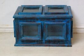 BLUE ANTIQUE TRUNK WITH GLASS