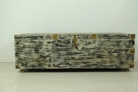 beautiful antique vintage afghan solid wood chest storage trunk