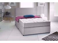 Grey Suede Divan Bed & Mattress With Free Headboard FREE NATIONWIDE DELIVERY