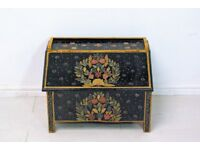 colourful Retro vintage wooden Indian hand painted chest storage trunk