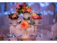 VINTAGE STYLE TABLE CENTRE PIECES & CANDELABRAS - WEDDING/TEA PARTY EVENTS - For Hire
