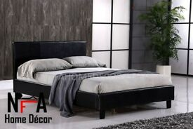 Brand New Double Bed Frame Base Low Foot End & Mattress | Expresso Brown Faux Leather