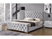 BEDROOM FURNTIURE-Crush velvet Chesterfield Bed Frame in Black Silver and Champagne Color