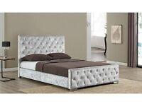 Delivery 7 Days a week BRANDNEW Crushed Velvet Designer Double Bed King Bed Frame /Mattress options