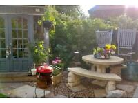 Stone garden table with benches SOLD