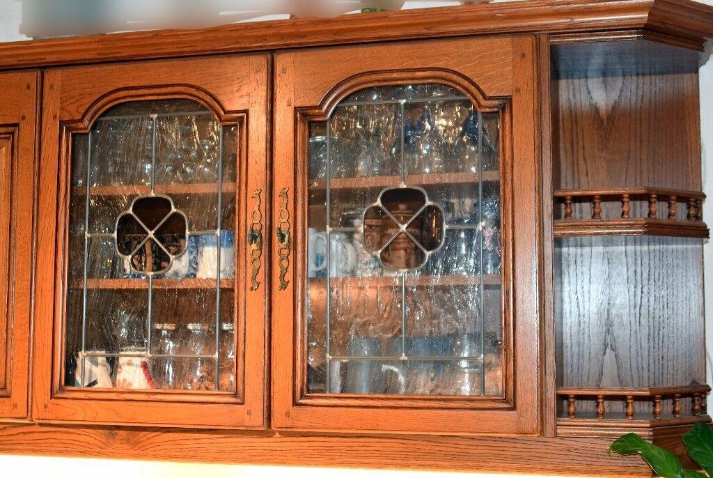 20 Solid Oak Kitchen Doors Cornice Pelmet Includes 2 Leaded Glass Doors Excludes Cabinets In Acton London Gumtree