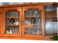 20 SOLID OAK KITCHEN DOORS, CORNICE, PELMET includes 2 leaded glass doors. Excludes cabinets.