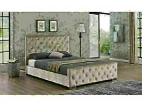 🔵💖🔴UPTO 50% SALE OFFER🔵💖🔴KING SIZE DOUBLE CHESTERFIELD CRUSHED VELVET BED FRAME & MATTRESSES