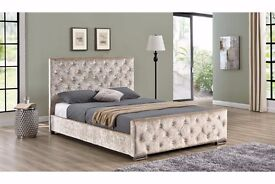 **Big Sale Starts** HIGH QUALITY CHESTERFIELD CRUSHED VELVET BED FRAME IN BLACK SILVER AND CREAM