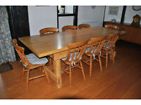 Solid Pine country kitchen table and chairs