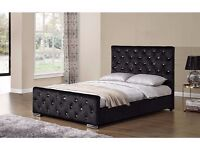 """==""""""""BLACK SILVER & CREAM**== NEW DOUBLE CRUSHED VELVET CHESTERFIELD BED WITH WIDE RANGE OF MATTRESS"""