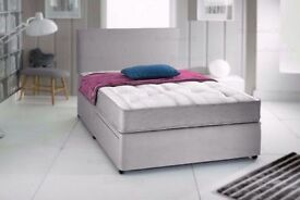 """Grey Suede Divan Bed & 10"""" Memory Foam Sprung Mattress With Free Headboard FREE NATIONWIDE DELIVERY"""