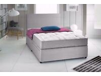 "Grey Suede Divan Bed & 10"" Memory Foam Sprung Mattress With Free Headboard FREE NATIONWIDE DELIVERY"