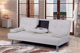 New 'Moscow' 3 Seater White & Brown Faux Leather Sofa Bed With 2 Drink Holders (Free Local Delivery)