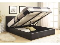 【Brand New】DOUBLE LEATHER STORAGE BED FRAME WITH OTTOMAN GAS LIFT UP WITH CHOICE OF MATTRESSES