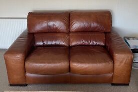 Pull Up Leather 3 and 2 Seater Sofas