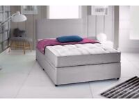 Grey Suede Divan Bed & Memory Foam Sprung Mattress With Free Headboard FREE NATIONWIDE DELIVERY
