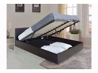 LIMITED OFFER Double Leather Storage Ottoman Bed Frame, Gas Lift-Up with Mattress-SINGLE & KING SIZE