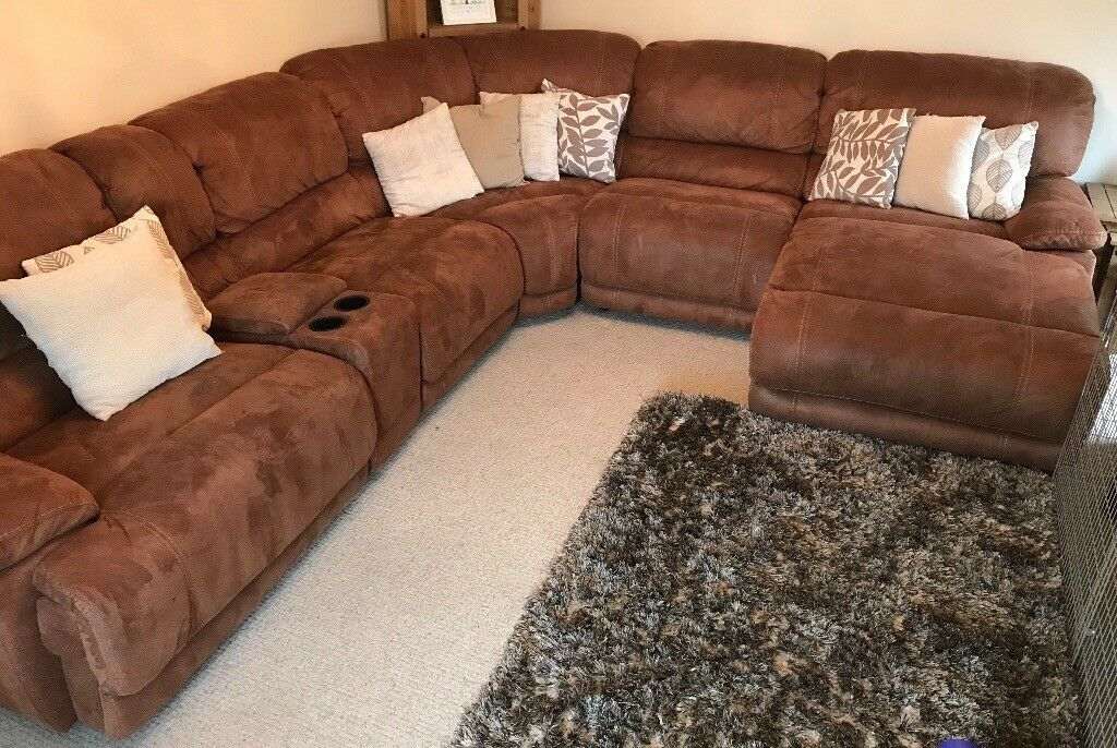 Large Corner Sofa With Entertainment Centre Drinks Holder Recliner And Built In Foot Stool