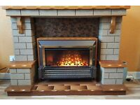 FIREPLACE SURROUND WITH ELECTRIC FIRE - STONE AND WOOD - UNUSUAL DESIGN
