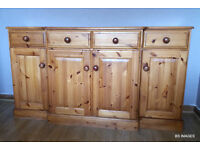 PINE DINING TABLE AND 4 CHAIRS AND PINE SIDEBOARD