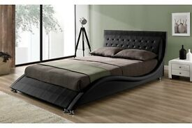 New 'Tennessee' Black Faux Leather Double - 4FT6 Bed Frame (Free Local Delivery)