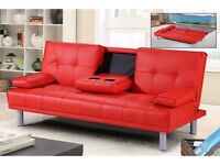 **7-DAY MONEY BACK GUARANTEE!**- Verona Click Clack Leather Sofa Bed Sofabed -DELIVERED SAME DAY!