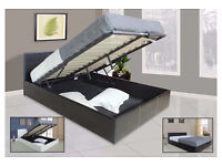 **FREE DELIVERY** SMALL/DOUBLE LEATHER STORAGE OTTOMAN GAS LIFTUP BED FRAME WITH MATTRESS OF CHOICE