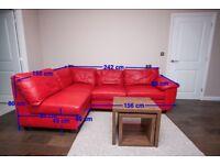 fernando red leather left hand corner sofa bed