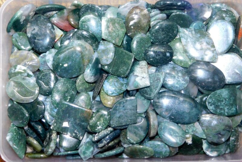 1000Cts Superb Moss Agate Cabochon Natural Gemstone Wholesale Lot- 258