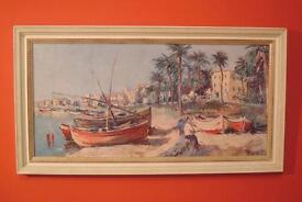 "Vintage abstract Boats on the Beach painting with artist signature ""Boness"""
