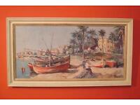 """Vintage abstract Boats on the Beach painting with artist signature """"Boness"""""""