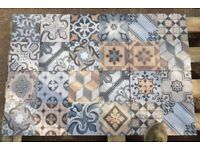 TILES JOB LOT 08: Bright & colourful Spanish Vintage patchwork porcelain tiles -16sqm 33x33cm