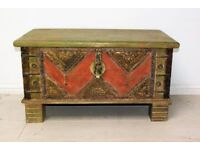 Beautiful antique solid wood and hand tapped brass trunk