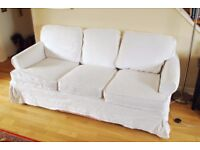 FREE 3 seat sofa. White loose covers used but in good condition