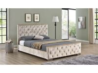 🔲🔳FREE AND SAME DAY CASH ON DELIVERY🔲🔳 New Double or King Size Crush Velvet Chesterfield Bed