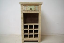 Beautiful hand-carved solid wood wine unit with draw