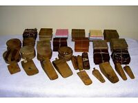 JOB LOT CRAFT FAIR HAND CRAFTED 122 ANTIQUE HARDWOOD SEASONED ITEMS COASTERS AND DOORSTOPS