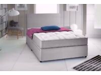 "BLACK SUEDE MEMORY FOAM DIVAN BED SET + 10"" LUXURY DUAL MATTRESS + HEADBOARD FREE DELIVERY"