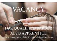Qualified Barber OR Unisex Hairdresser required