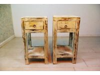 beautiful antique solid wood bedside table unit (set of 2)