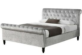 🔥💗🔥CHEAPEST PRICE GUARANTEED🔥🔥BRAND NEW DOUBLE/KING DIAMOND CRUSHED VELVET SLEIGH BED &MATTRESS