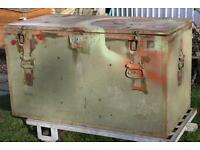 "1950s US MILITARY LARGE WOODEN TRUNK - 52"" Wide x 29.5"" Tall x 26.5"" Deep"
