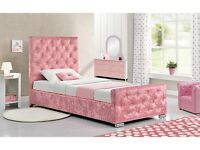 Single Bed Crushed Velvet Designer Bed Frame Brand New In The Box Pay on Delivery